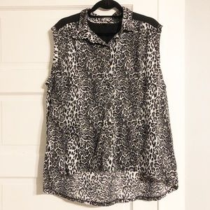French Laundry Animal Print Sleeveless Button-Up